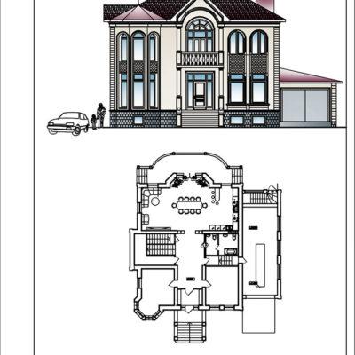 чертеж и двухмерное изображение жилого одноквартирного двухэтажного дома от компании город мастеров