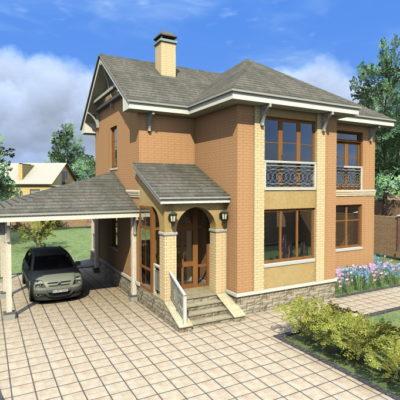 Цветная 3d-модель двухэтажного коттеджа и дворовой территории от компании город мастеров