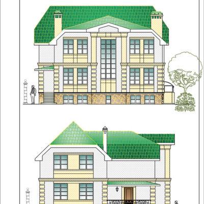 изображение фасада и профиля двухэтажного коттеджа от компании город мастеров