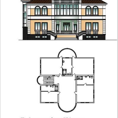 чертеж и двухмерное изображение фасада коттеджа от компании город мастеров